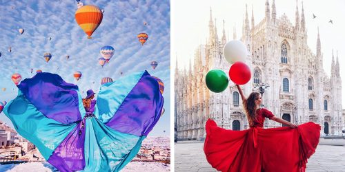 Adventurer in Flowy Dresses Takes Self-Portraits in Most Beautiful Places on Earth