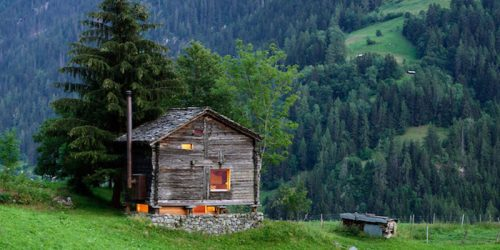 Tiny Warm Cabin in the Cold Swiss Alps