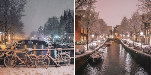 Magical Amsterdam Under Heavy Snowfall