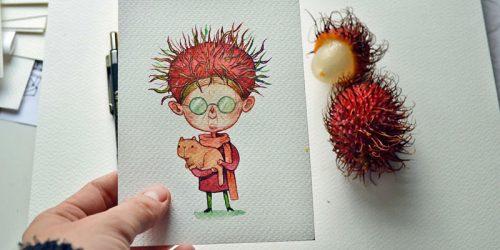 Adorable Watercolor Characters Illustrated as Re-Imagining of Fruits and Vegetables