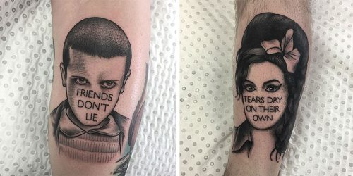 Unique Ink Portraits of Famous People with Trademark Quotes