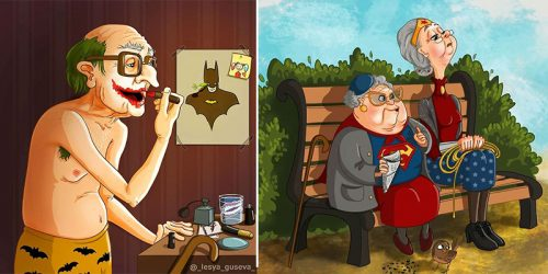 Super Old Superheroes – 'Pensioners' – Crossover Fan Art Illustrations