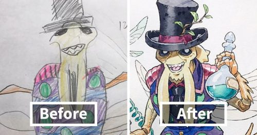 Anime Artist Turns Son's Drawings Into Pure Art