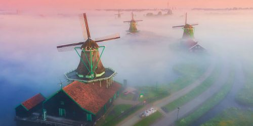 Dutch Windmills Rise Above Thick Fog in a Colorful Battle of Gold and Purple