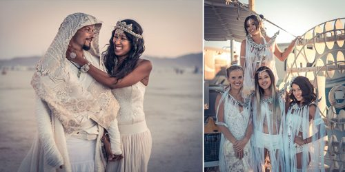Intergalactic Wedding of 2 Artists at the Surreal Burning Man Event