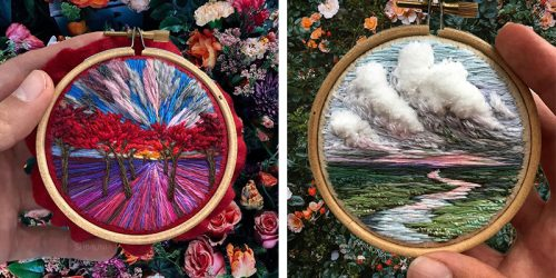 Colorful Textured Embroidery Thread Landscapes and Dynamic Skies by Vera Shimunia