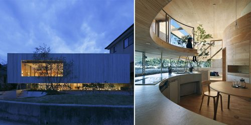 Unique Circular Indoor Walls of Timber, Indoor Trees, and Glass Walls on Hillside by UID Architects