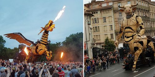 Giant Robotic Minotaur 46-Foot-Tall and Spider Perform Operatic Myth in France
