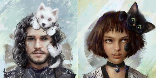 Russian Artist Portrays Famous Characters with Their Pets