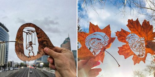 Draw n' Cut Leaves are Canvas in today's '100 Methods of Drawing' by Kanat Nurtazin