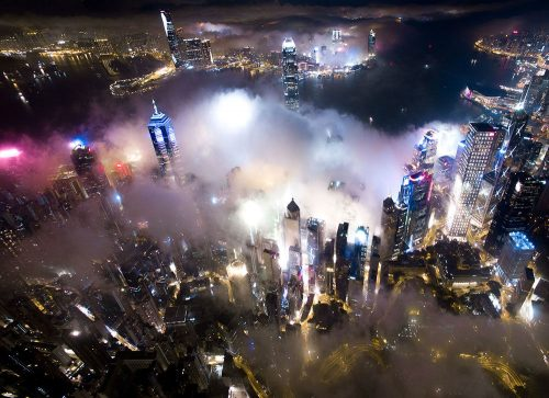 'Urban Fog' by Andy Yeung – Aerial Night Photo Series above Hong Kong's Skyscrapers Swallowed by Fog