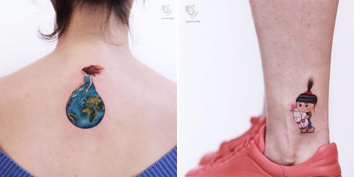 Unique and Minimal Colored Tattoo Designs by Ayhan Karadag
