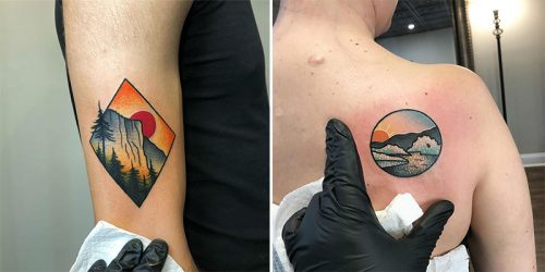 Beautifully Detailed and Picturesque Scenery Tattoos by Kevin Ray