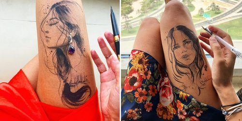 Incredibly Beautiful Female Portraits Sketched On A Leg