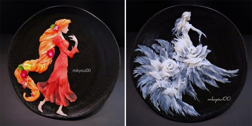 Dad Delicately Turns Raw Fish Into Artwork