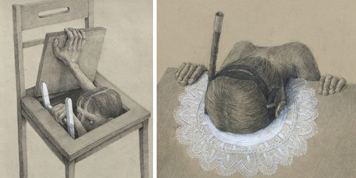 Solitary Protagonists in Psychological Pencil Drawings by Stefan Zsaitsits