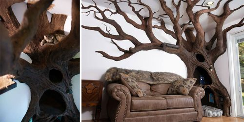 Sculptor Robert Rogalski Creates Unbelievably Realistic Tree Tower for Cats