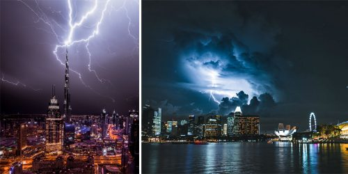 Lightning Storm Swallows the Cityscapes of Dubai and Singapore in Urban Photography by Teemu Jarvinen