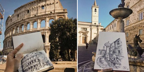 Impressively Accurate and Expressive Ink Sketches of Italian Architecture