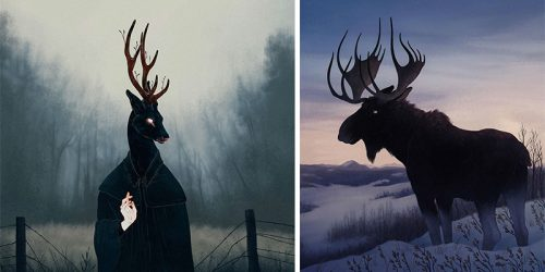 Digital Illustrations of Shadowy Animals and Mysterious Desolate Places