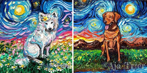 """Starry Night Dogs"" Painting Series by Aja Trier"