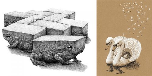 Fantastic and Surreal World in Redmer Hoekstra's Illustrations of Animals in Alienating Combinations