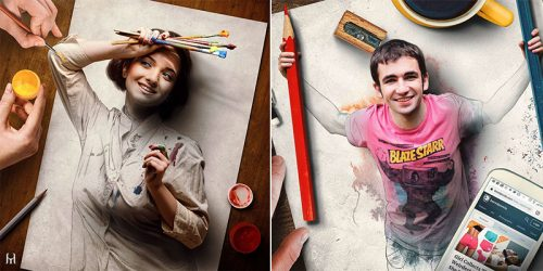 Drawings That Came to Life – Mix of Pencil Art and Real Photos