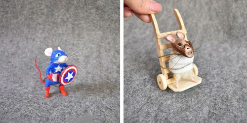 Famous Characters as Needle-Felted Mice with Clay Sculptured Accessories by Rachel Austin