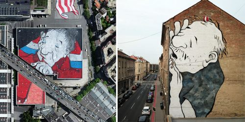 Large Scale Outdoor Murals of Sleeping Giants Courtesy of French Street Art Duo