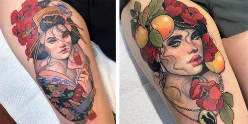 Mystics and Muses – Incredibly Detailed Fine-Art-Like Tattoo Portraits of Magical Ladies