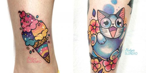 Katya Slonenko and Her Cartoony Neo-Traditional Tattoo Style