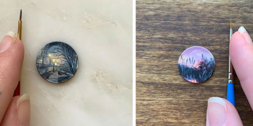 Tiny Traditional Oil Paintings on Copper Coins by Bryanna Marie