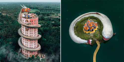 Spectacular and Heavenly Asian Temples – Drone Photography by Ell Costi
