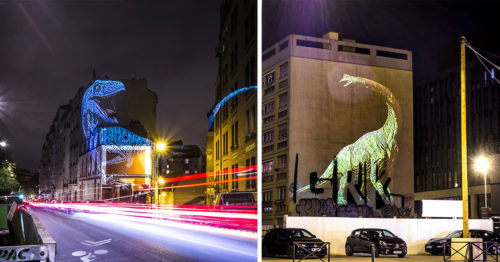 Dinosaurs in the Streets of Paris! Street-Art and Holographic Installations