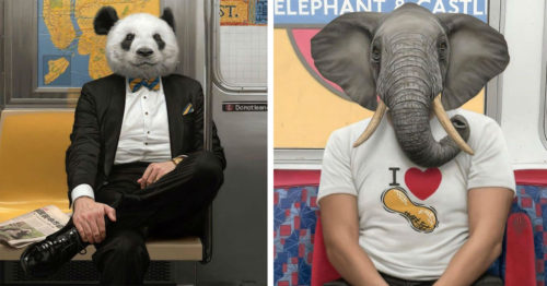 Surreal Paintings of Human-Animal Hybrids as NYC Subway Passengers