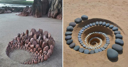 Satisfying Composition of Beach Stones by 'Land Artist' Jon Foreman