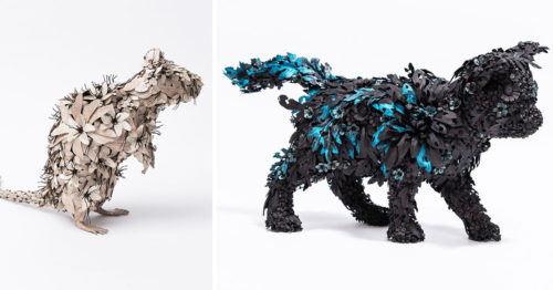 Flower-ish Metal Sculptures of Animals by Taiichiro Yoshida