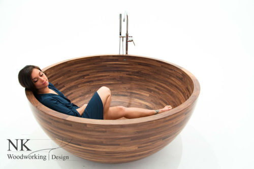 $30,000 Walnut and Mahogany Bathtubs by NK Woodworking & Design studio