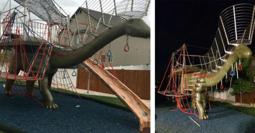 Dad Constructs an Enormous Dinosaur Playground made in the Backyard Just for His Kids