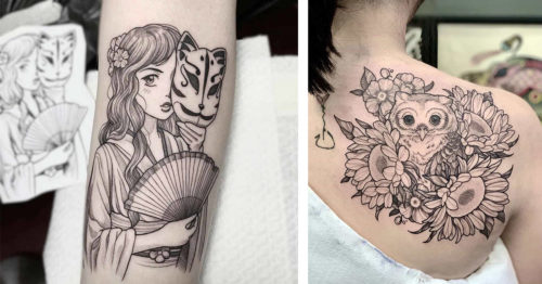 Fine Line Tattoo Artwork with Flora and Fauna Motifs by Maret Brotkrumen
