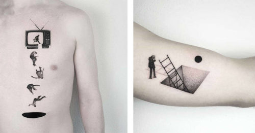 Elegant Geometry, and Stylish Surrealism in Matteo Nangeroni's Tattoos