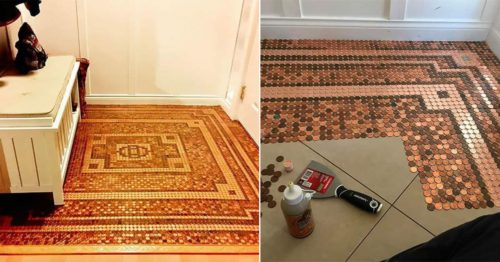 DIY – Mosaic Floor Made with 7,500 Pennies by Kelly Graham