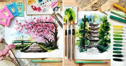 Watercolor Cityscapes and Scenery from All Over the World