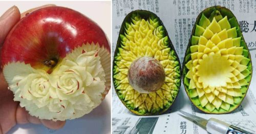 Japanese Food Artist Hand-Carves Complex and Sophisticated Patterns Into Fruit and Vegetables