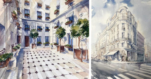 Serene Beauty of Classical European Architecture in Watercolor Paintings