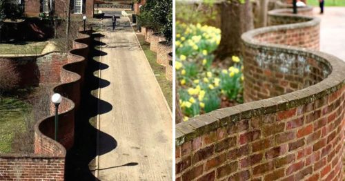 These Intriguing Wavy Walls from UK Require Fewer Bricks Than Regular Straight Walls