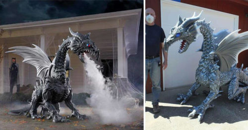 Epic Smoke-Breathing Mechanical Dragon – Halloween Decoration