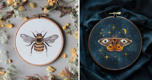 Highly Detailed and Colorful Embroidery Masterpieces by Emillie Ferris