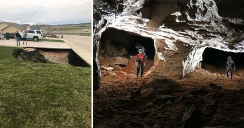 Huge Sinkhole Reveals a Giant Gypsum Mine On the Side of the Road In South Dakota