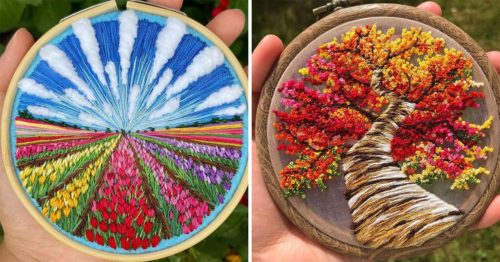 Colorful 3D Embroidery Landscapes, Hand-Stitched by 'Sew Beautiful'